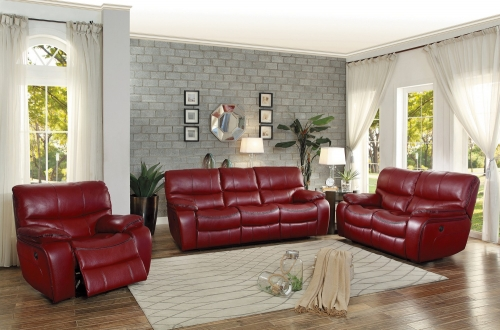 Pecos Power Reclining Sofa Set - Leather Gel Match - Red