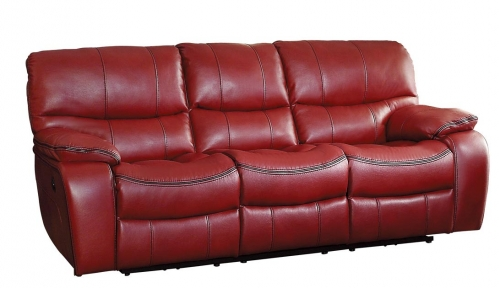 Pecos Power Double Reclining Sofa - Leather Gel Match - Red