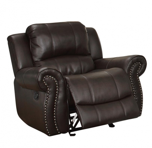 Annapolis Glider Reclining Chair - Leather Gel Match - Dark Brown