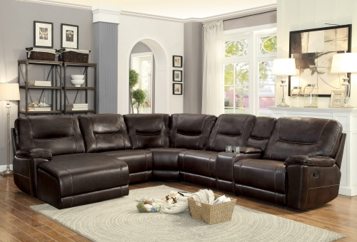 Columbus Reclining Sectional Sofa Set B - Breathable Faux Leather - Dark Brown