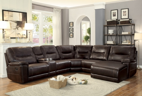Columbus Reclining Sectional Sofa Set C - Breathable Faux Leather - Dark Brown