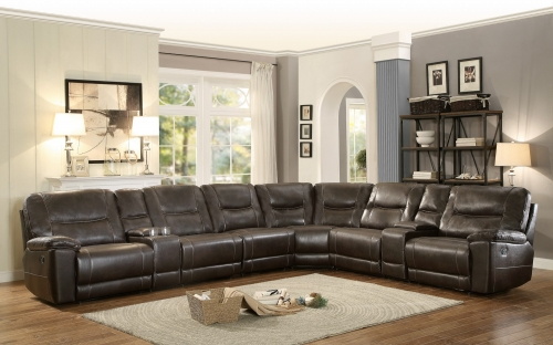 Columbus Reclining Sectional Sofa Set E - Breathable Faux Leather - Dark Brown