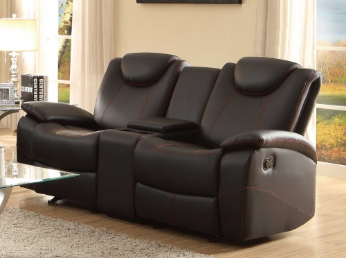 Talbot Double Glider Reclining Love Seat with Center Console - Black Bonded Leather