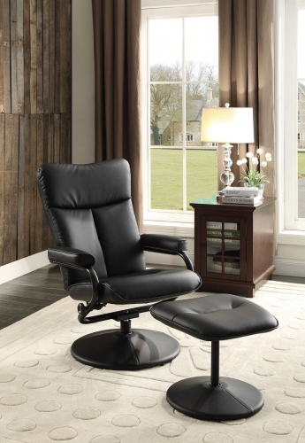Alida Swivel Reclining Chair with Ottoman - Black Bonded Leather Match