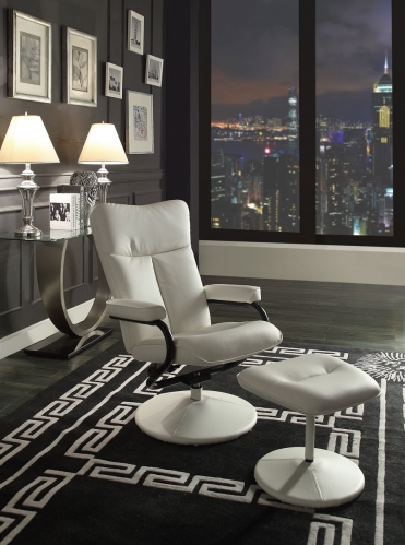 Alida Swivel Reclining Chair with Ottoman - White Bonded Leather Match