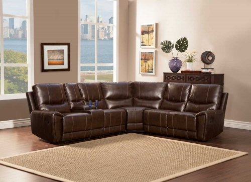 Gerald Sectional Sofa - Brown - Bonded Leather Match