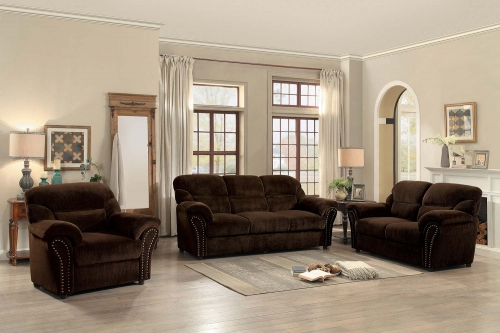 Valentina Sofa Set - Dark Brown Fabric
