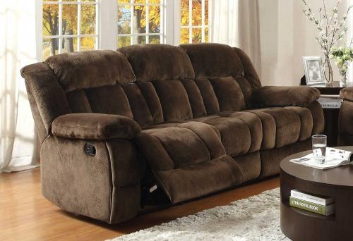 Laurelton Double Reclining Sofa - Chocolate - Textured Plush Microfiber