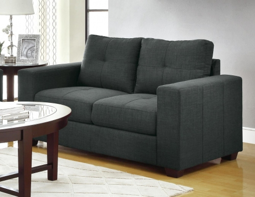 Ashmont Love Seat - Polyester - Dark Grey