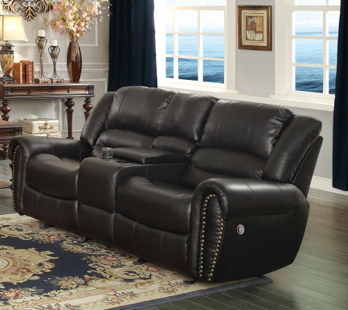 Center Hill Power Double Reclining Love Seat with Center Console - Black