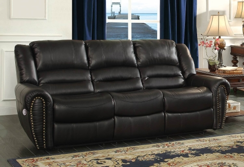 Center Hill Power Double Reclining Sofa - Black