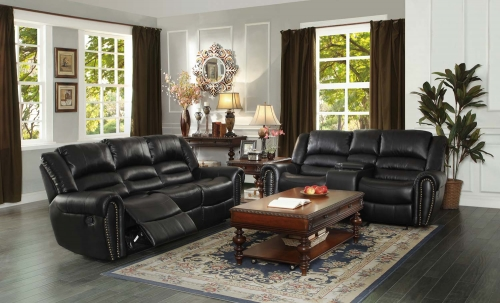 Center Hill Reclining Sofa Set - Black Bonded Leather Match