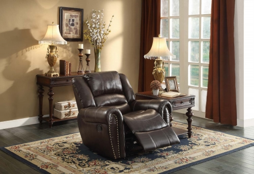 Center Hill Glider Reclining Chair - Dark Brown Bonded Leather Match