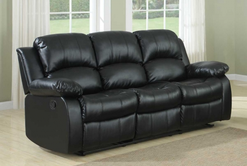 Cranley Double Reclining Sofa - Black Bonded Leather