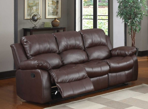 Cranley Double Reclining Sofa - Brown Bonded Leather