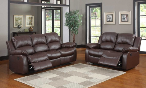 Cranley Reclining Sofa Set - Brown Bonded Leather