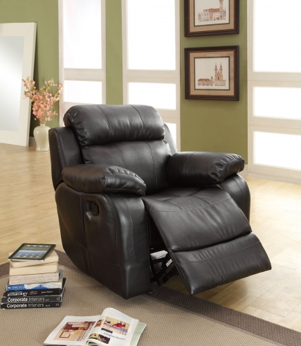 Marille Chair Glider Recliner - Black - Bonded Leather Match