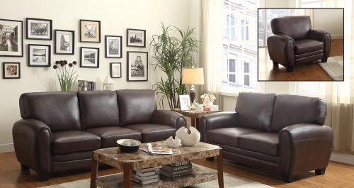 Rubin Sofa Set - Dark Brown
