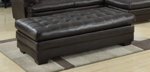 Brooks Ottoman - Brown Bonded Leather