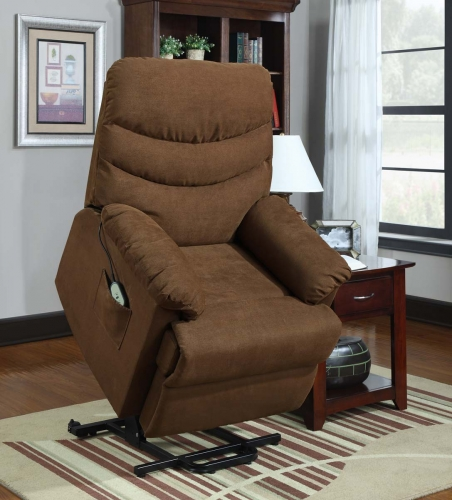 Elevated Power Lift Chair - Dark Brown - Microfiber