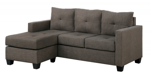 Phelps Reversible Sectional Sofa - Brown-Gray Fabric