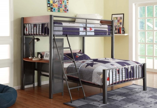 Division Twin Loft Bed and Shelf - Light Graphite