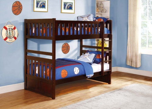 Homelegance Rowe Twin/Twin Bunkbed - Dark Cherry