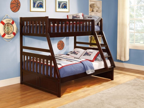 Homelegance Rowe Twin/Full Bunkbed - Dark Cherry