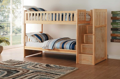 Bartly Twin over Twin Bunk Bed with Step Storage - Natural Pine