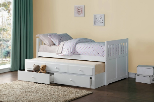 Galen Twin Bed with Trundle and Two Storage Drawers - White