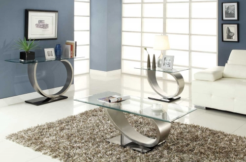Silvera Cocktail Table Set - Brushed Chrome