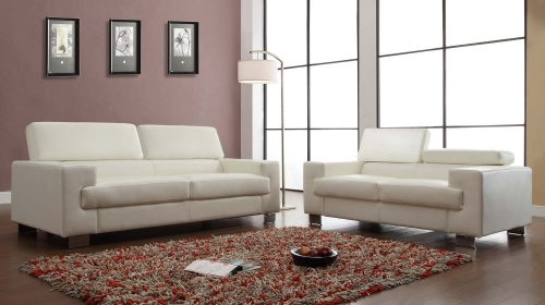 Vernon Sofa Set - White - Bonded Leather