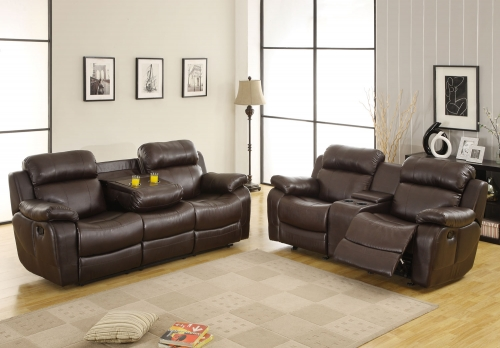 Marille Reclining Sofa Set - Dark Brown - Bonded Leather Match