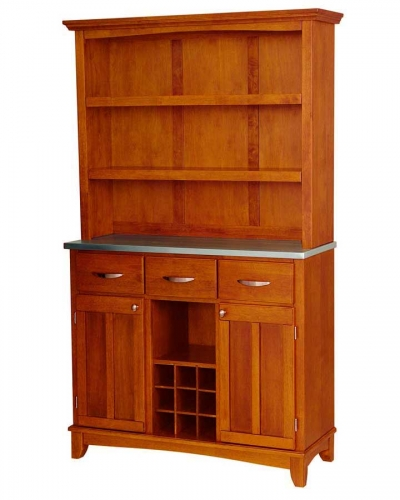Home Styles Cottage Oak Stainless Steel Top Buffet Open Hutch Large 420 668