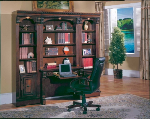 Huntington Bookcases with Desk and Hutch