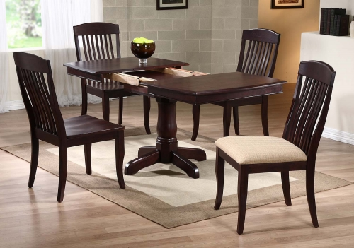 Single Pedestal Boat Shaped Dining Set with Contemporary Slat Back Dining Chair - Mocha/Mocha