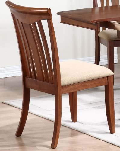 Modern Slat Back Dining Chair with Upholstered seat - Cinnamon