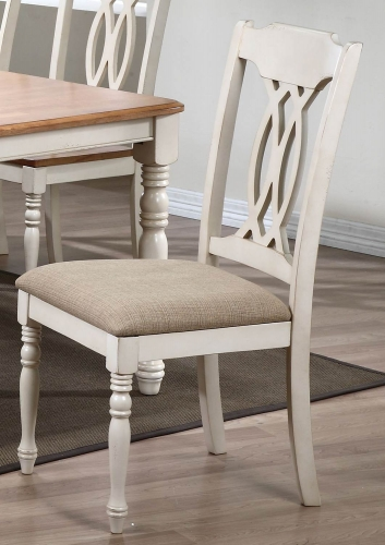 Traditional Back Dining Chair with Upholstered seat - Biscotti