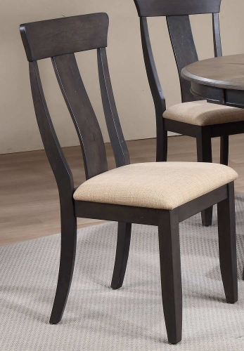 Panel Back Dining Chair Upholstered Seat - Black Stone