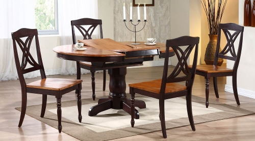 Round/Oval Pedestal Dining Set with Butterfly Back Chair - Whiskey/Mocha
