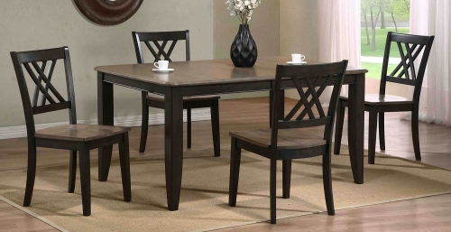 Rectangular Leg Dining Set with Double X-Back Dining Chair - Grey Stone/Black Stone