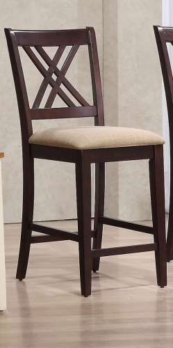 Double X- Back 24-inch Counter Stool Upholstered Seat - Whiskey/Mocha