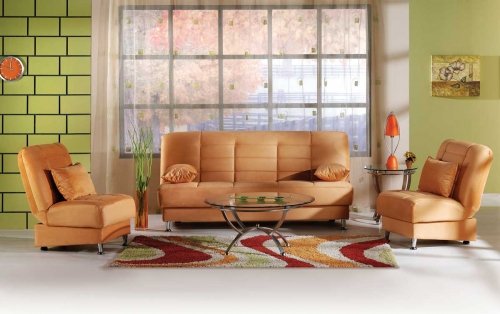 Vegas Sofa Collection - Rainbow Light Orange