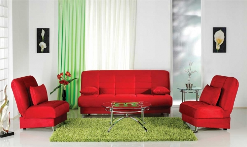 Vegas Sofa Collection - Rainbow Red