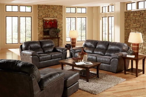 Grant Bonded Leather Sofa Set - Steel