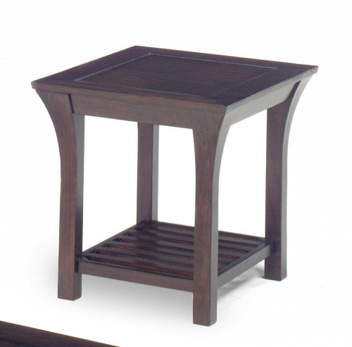 813 Series End Table - Merlot Wood with Slat Shelves