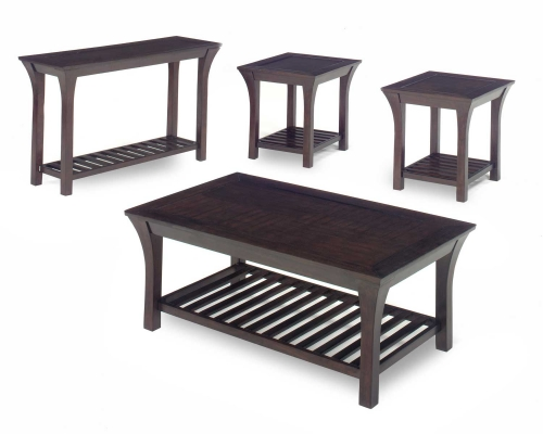 813 Series Cocktail Table Set - Merlot Wood with Slat Shelves