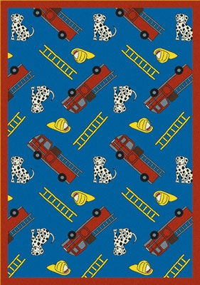 Joy Carpet Hook and Ladder Rug - Blue