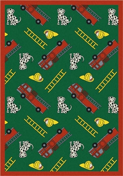 Joy Carpet Hook and Ladder Rug - Green