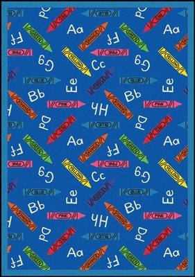 Crayons Rug - Blue